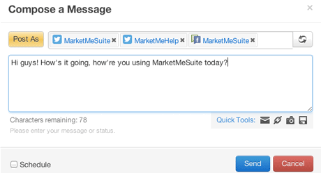 MarketMeSuite supports multiple social networks